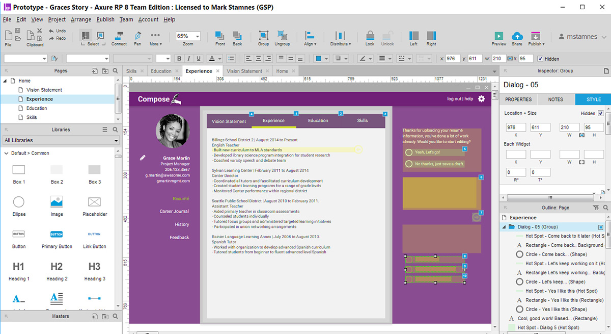 screenshot of the compose prototype being built in axure