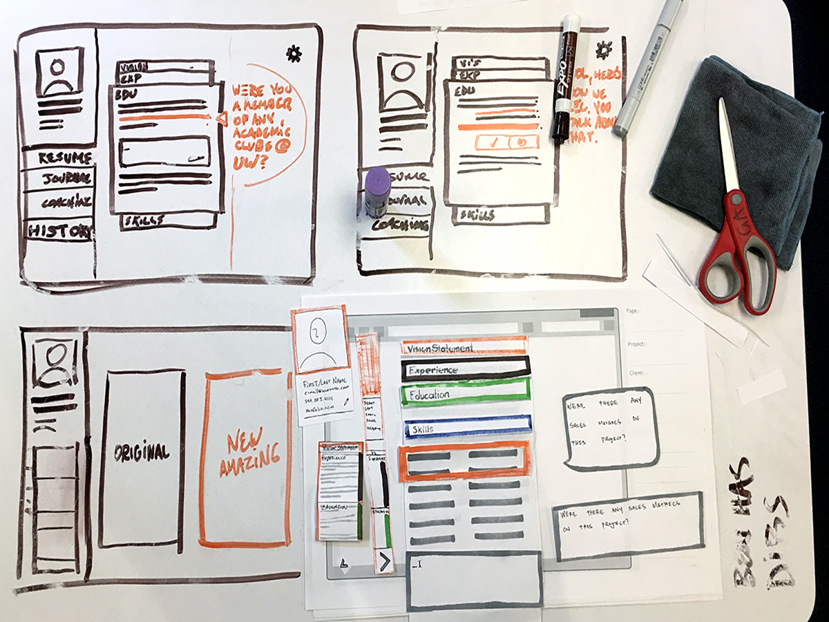 image of design studio sketches and paper prototype